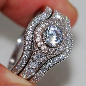 NEW 18K White Gold Diamond Halo 3 PC Ring Set
